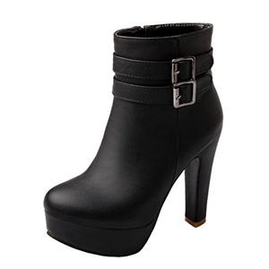 MERUMOTE Women's Platform Chunky Heels Ankle Booties Black 5 US