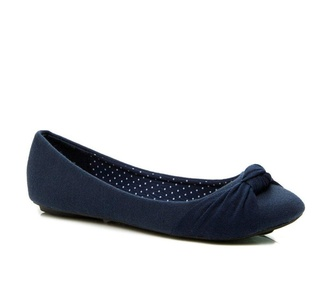 Charles Albert Women's Knotted Ballet Flat in Navy Size: 7