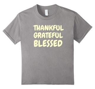 Kids Thankful Grateful Blessed Amazing Holy Christian T Shirt 12 Slate