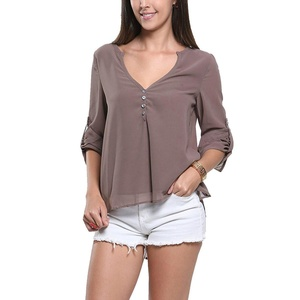 Womens Casual Solid V-Neck Long Sleeve Button Decor Chiffon Party Blouse Shirts Tops