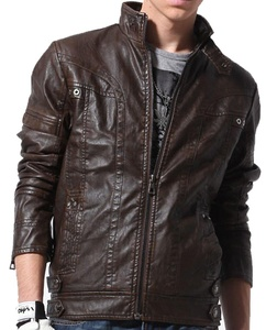 S&S Mens Solid Buckle Collar Full Zip Belted Fur Lined Buffalo Leather Jacket