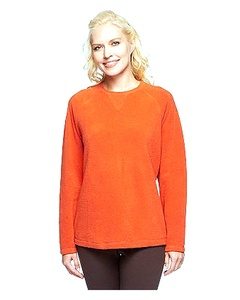 DENIM & CO. Womens Baby Sherpa Crew Neck Sweatshirt Multi 240505RM (1X, Spice Orange)