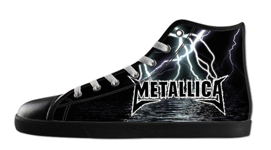 Custom Men's Rock Band Metallica Logo Canvas Shoes High-Top Black Rubber Casual Lace-up Soft Inner Sneaker-12M(US)