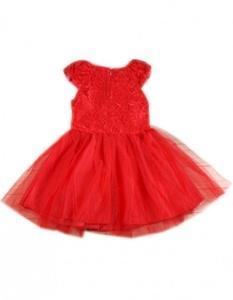 LI'L BLACK DRESS Baby Girl Kids Children's Wear Short Sleeve Lace Fancy Dress Red