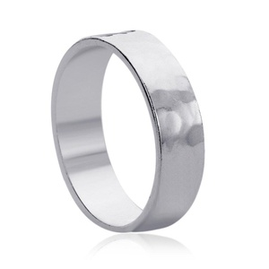 Free Engraving Personalized Sterling Silver 6MM Hammered Wedding Band Ring