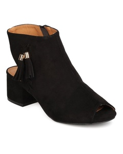 Qupid FF58 Women Faux Suede Peep Toe Tasseled Chunky Heel Bootie - Black (Size: 9.0)