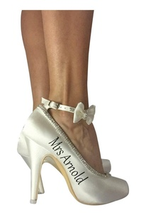 Satin Purple and Ivory Strap Heels for Wedding Bridal Shoes- customize