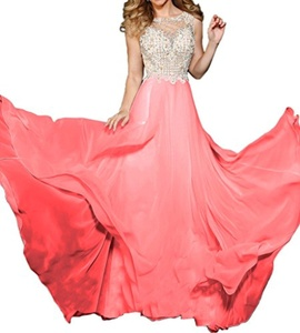 MILANO BRIDE Grace A-line Jewel Sleeveless Beads Tulle Evening Dress Prom Gown-6-Peach