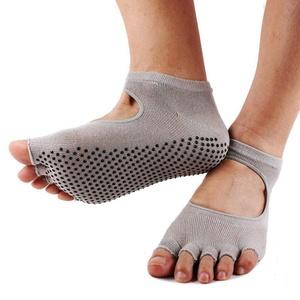 Professional Cotton Non-slip Yoga Socks Toeless Exercise Yoga Massage Fitness Socks