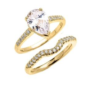 14k Yellow Gold Dainty Diamond Wedding Ring Set with Pear Shape Cubic Zirconia Center Stone(Size 7.75)