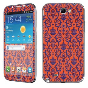 Samsung [Galaxy Note 2] Phone Skin - [SkinGuardz] Full Body Scratch Proof Vinyl Decal Sticker with [WallPaper] - [Purple Orange Retro] for Samsung Galaxy [Note 2]
