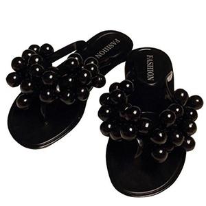 Brucest The Fashion Beach Slippers Women Grape Flip Flops Flat Sandals Peep-Toe Sandals Black7 B(M) US New Style.