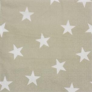 TAUPE BEIGE WHITE STARS 3-PLY 20 PAPER NAPKINS SERVIETTES 13 X 13
