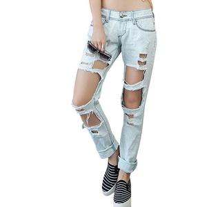 Haogo Womens Low Rise Destroyed Boyfriend Denim Jeans Ripped Hole Pants Light Blue L