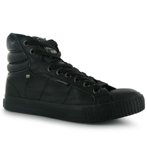 Mens British Knights Atoll Mid PU Trainers Shoes Black Black (UK 8 / US 9)