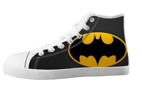 For Batman Design High Top Lace Up Canvas Custom For Men's Shoes-12M(US)