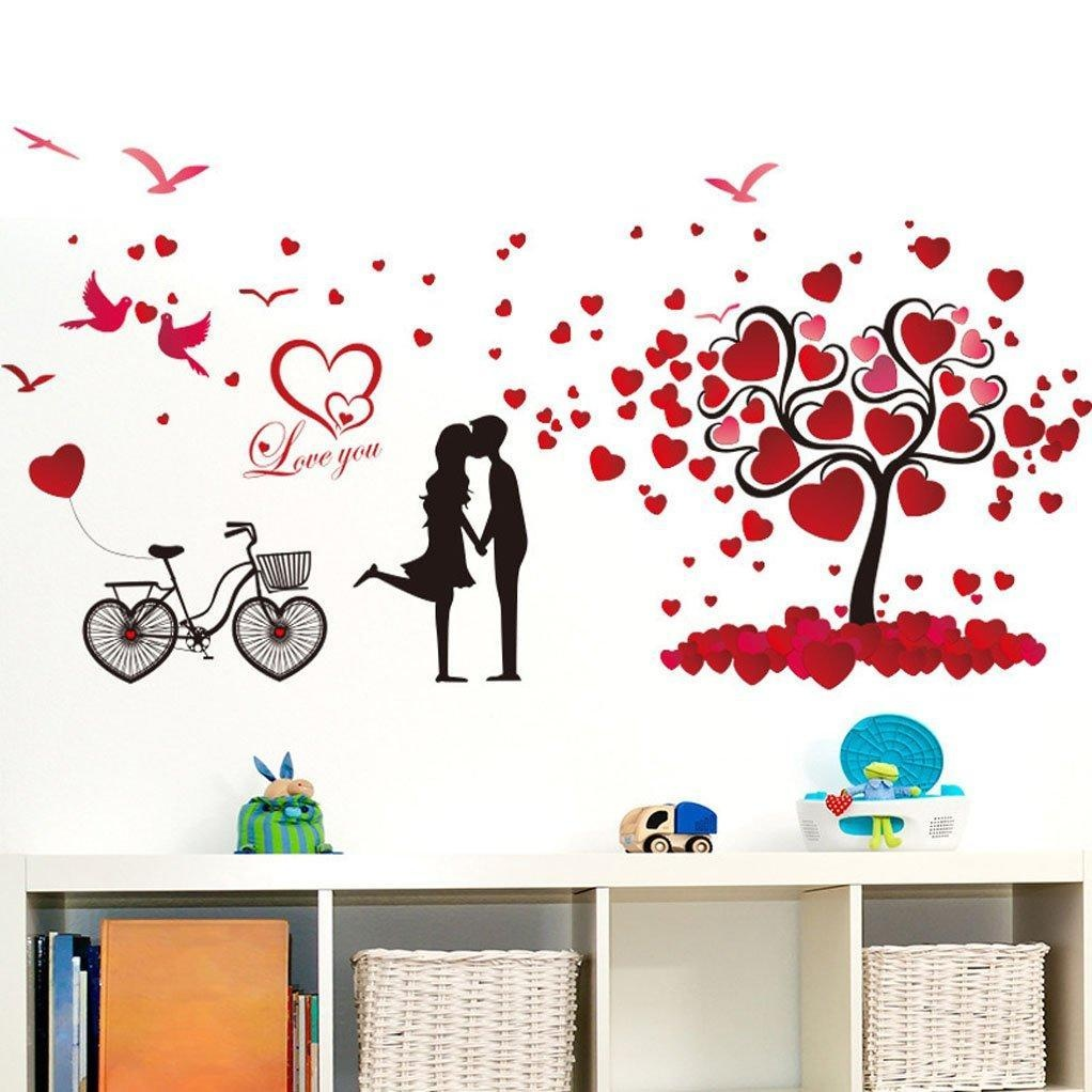online store bibitime valentines day heart tree wall decals bibitime valentines day heart tree wall decals flying birds kissing couple wall stickers for girlfriend bedroom