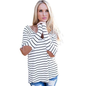 Blouse,NOMENI Womens Long Sleeve Shirt Loose Stripe Tops T Shirt Casual Blouse (L)