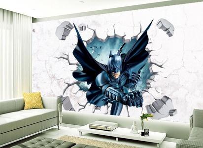 3D Broken Wall Generic Batman Super Man Building Burning Decal Wall Sticker art