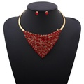 ARICO Jewelry Set 18k Gold Plated Crystal Jewelry Sets Triangle Necklace and Earrings NE907