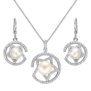 EleQueen 925 Sterling Silver CZ Cream Freshwater Cultured Pearl Star Bridal Necklace Hook Earrings Set Clear
