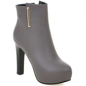 LongFengMa Women's High Heel Platform Ankle Boots Glitter Stiletto Shoes (4.5 B(M) US, Gray)