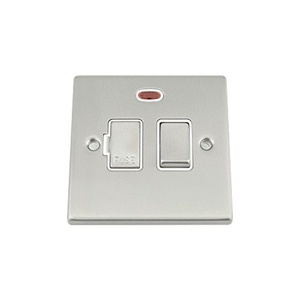 Fused Switch with Neon - Satin Matt Chrome Square - White Insert Metal Rocker Switch - 13 Amp Switched Fused Spur Unit by A5 Products