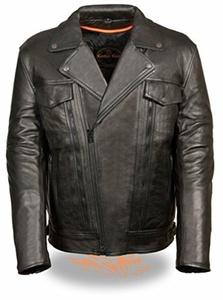 Leather King Men's Utility Pocket Motorcycle Jacket (Black, X-Large) by LEATHER KING