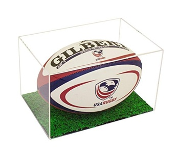 Deluxe Clear Acrylic Collectible Rugby Ball Display Case with Green Turf Bottom with UV Protection (A018)