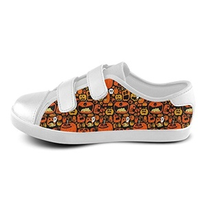 H-OME Art Halloween Kid's Velcro Low-Top Canvas Shoes Boy's Girl's Breathable Sneakers,White