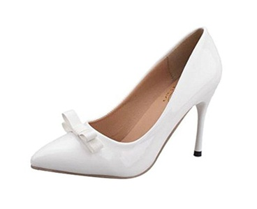 T&Grade Women Fashion Low Top Slip On Pointed Toe Bowknot Thin High Heel Party Dress Stilettos(6 B(M) US, white)