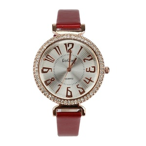 Womens Elegant Big Face Wrist Watches with Thin Leather Band Quartz Analog Rhinestone Watch Red