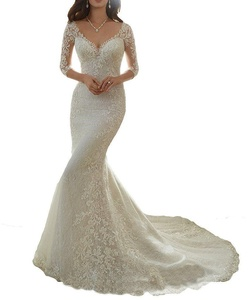Sexy Mermaid Lace Wedding Dresses Appliques Half Sleeves Bridal Wedding Gowns Ivory 2