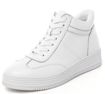 D2C Beauty Women's Lace Up High-Top Athletic Ankle Sports Sneakers- White 7 M US