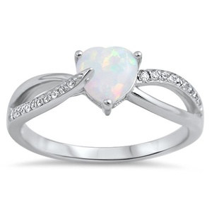 Heart Opal Lab Created Sterling Silver Unique Engagement Ring for Her Wedding Band Size 9