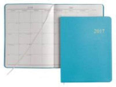 2017 GALLERY LEATHER Sky Blue Leather Cartier Large Monthly Planner MADE IN USA