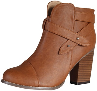 Chase & Chloe Women's Andrea-1 Chunky Heel Strappy Ankle Boot (6 B(M) US, Tan)