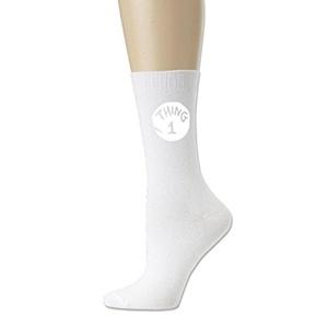unisex Thing 1 All-Season Cotton Crew Athletic Socks White (3 colors)