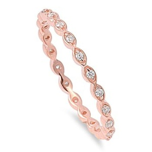 Rose Gold Tone Eternity Band Sterling Silver Clear Cubic Zirconia Midi Knuckle Stackable Promise Ring Size 10