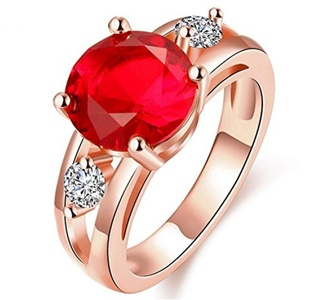 GemMart Jewelry Big Round Red Stone Crystal Zircon Vintage Wedding Ring For Men Yellow Gold Plated Ring Ruby Jewelry