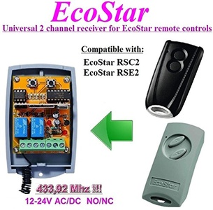EcoStar compatible receiver. 2-channel universal receiver for EcoStar RSC2, EcoStar RSE2 remote controls. 12-24V AC/DC, NO/NC 433.92Mhz rolling / fixed code