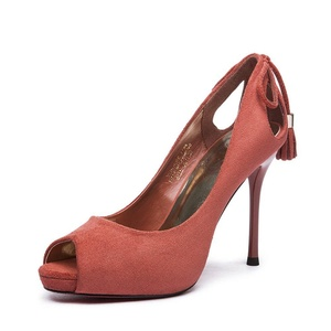 Lady fish frosting bow stilettos/Pointy thin shoes women's shoes-B Foot length=23.3CM(9.2Inch)