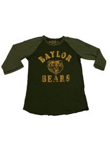 Baylor Bears Retro Brand WOMENS Two-Toned Green 3/4 Sleeve Crew Neck T-Shirt (S)