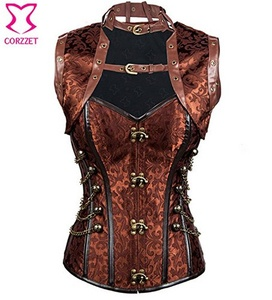 LPTA023- BROWN Steel Boned Bustier with Jacket Steampunk Corset Plus Size Burlesque Costume Corsets And Sexy Corsets Gothic clothing (L)