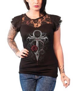 Spiral T Shirt Vampires Kiss Lace Layered Cap Sleeve Junior Fit T Shirt Black