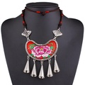 ARICO Ethnic Bohemian Necklace Boho Jewelry Embroidery Rope Chain Long Pendant Necklace Alloy Tassel Necklace NB485