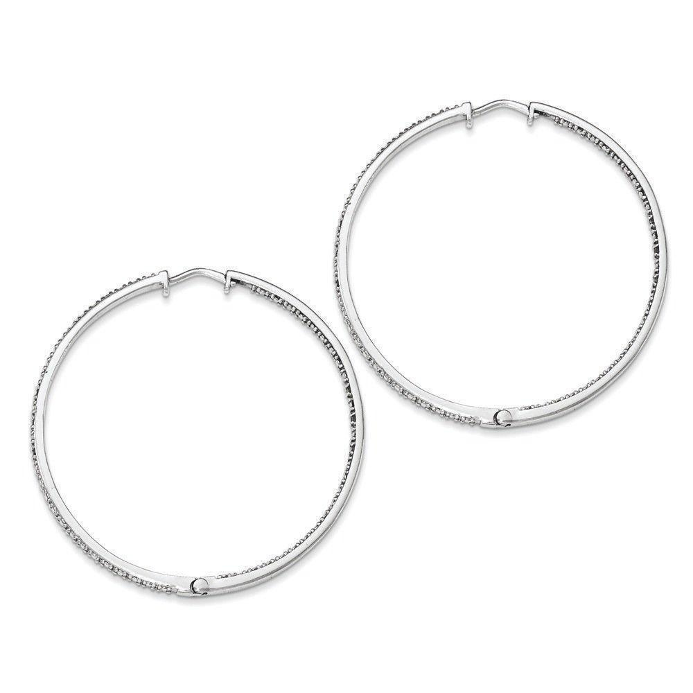 .925 Sterling Silver 51 MM Diamonds In & Out Hoop Earrings