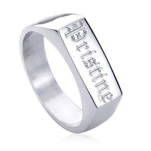 Free Engraving Personalized Sterling Silver 6 x 15mm Rectangular Signet Band Ring
