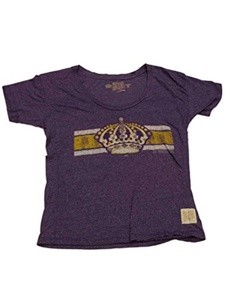 LA Kings Retro Brand WOMENS Purple Crown Logo SS Scoop Neck T-Shirt (M)