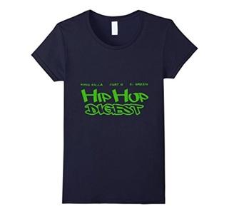 Women's Hip Hop Digest Show Graffiti T-shirt Small Navy